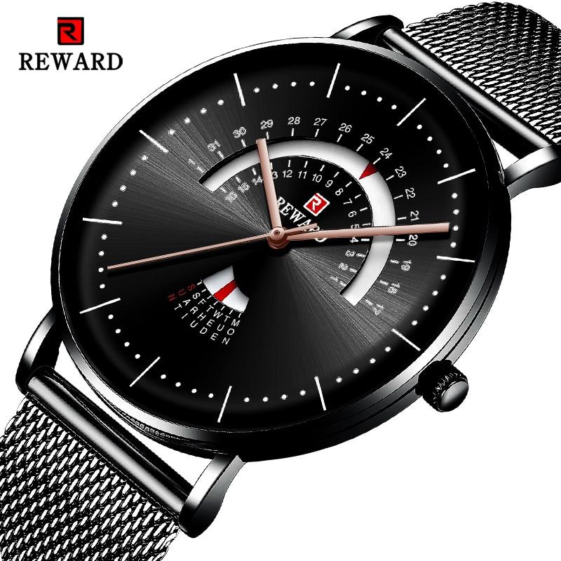 REWARD Unique Creative Watch Men Steel Mesh Band Quartz Clock Mens Watches Waterproof Date Casual Men Wrist Watch Reloj Hombre