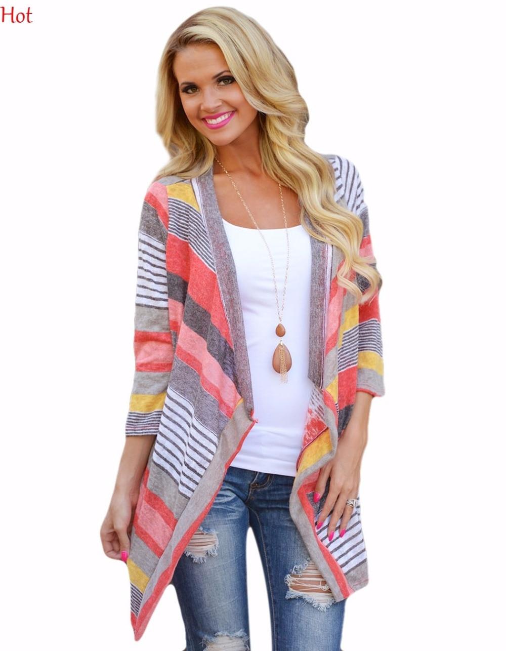 Ladies Women Stripe Sweater Knitted Blosue Cardigan 3/4 Sleeve Irregular Bluse Asymmetric Casual Thin Cardigan Outwear SV028362