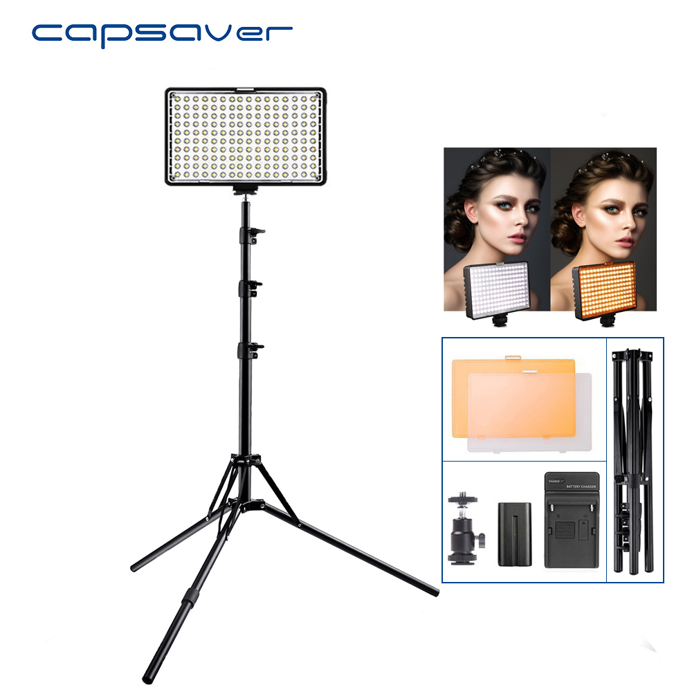 capsaver TL-160S 1 set Light for Video LED Studio Light CRI85 5600K/3200K Vlog Camera LED Lamp Panel Light Photographic Lighting spash tl 240s 1 set led video light with tripod stand cri 93 3200k 5600k studio photo lamp led light panel photographic lighting