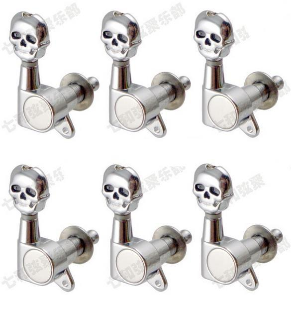 musical instruments 6r electric guitar strings skull button tuning pegs keys tuner machine heads. Black Bedroom Furniture Sets. Home Design Ideas