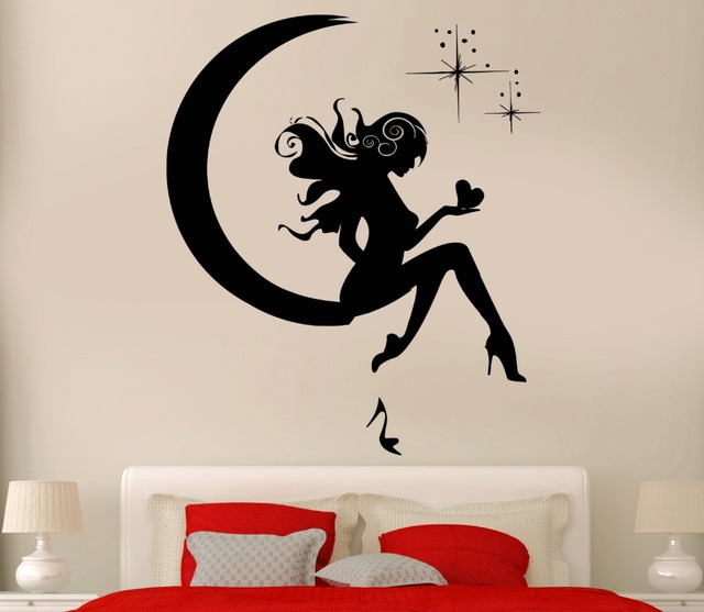 Wall sticker vinyl decal girl fairy moon star dreams teen decor removable vinyl wall stickers for