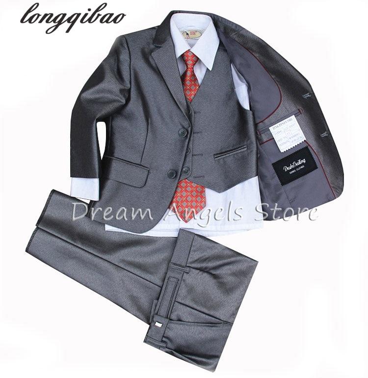 (Jackets+Vest+Pants+Tie+Cravat) Boy Suits Flower girl  Slim Fit Tuxedo Brand Fashion Bridegroon Dress Wedding Grey Suit Blazer2