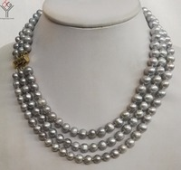 Women Jewelry 3 strands necklace 8x9mm gray pearl handmade necklace gold color clasp natural freshwater cultured pearl