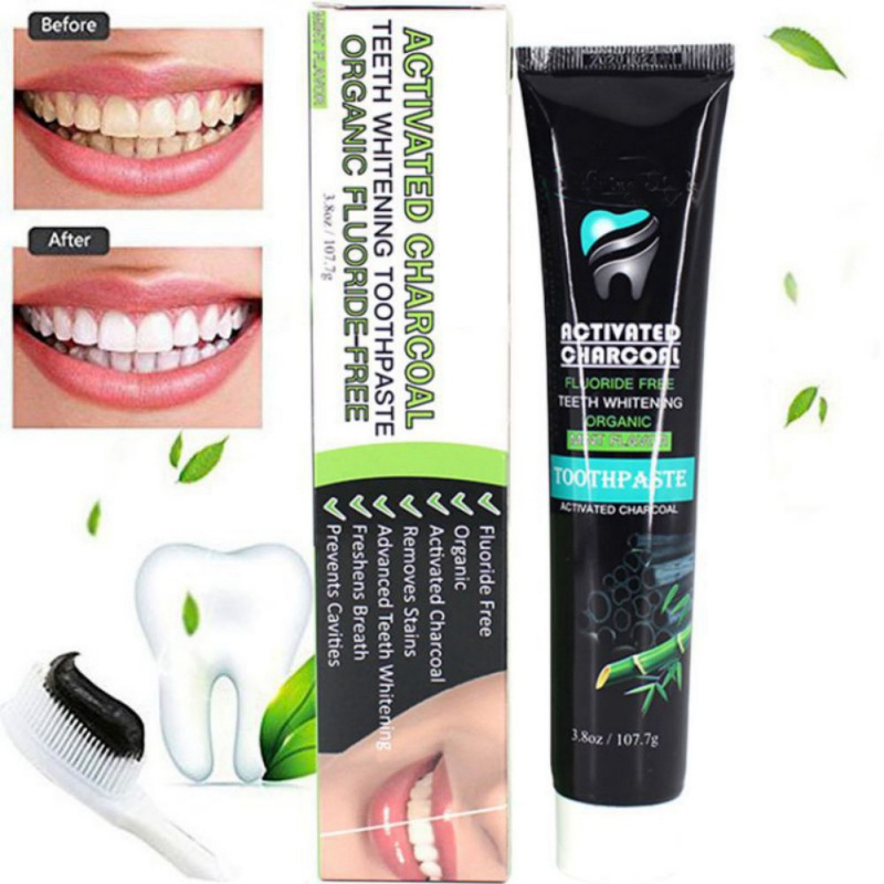 New Activated Charcoal Teeth Whitening Toothpaste Black Bamboo