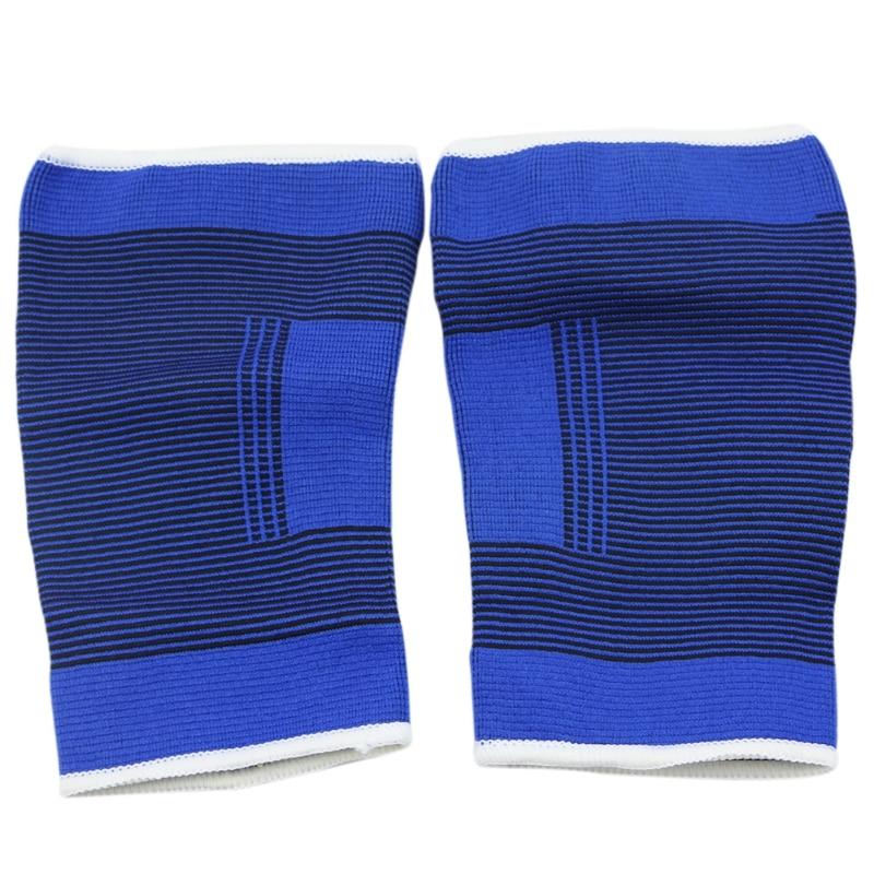 Elbow & Knee Pads 2pcs Blue Elastic Knee Support Pad Brace Guard Sleeve Strap Bandage Wrap Gym Convenience Goods