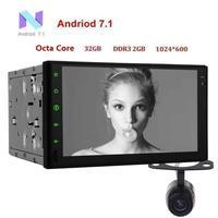 Android 7.1 2 DIN 7 inç kondansatör dokunmatik ekran araç ses, hiçbir DVD oynatıcı, GPS navigasyon, kablosuz Bluetooth 2 DIN Yedekleme Kamera