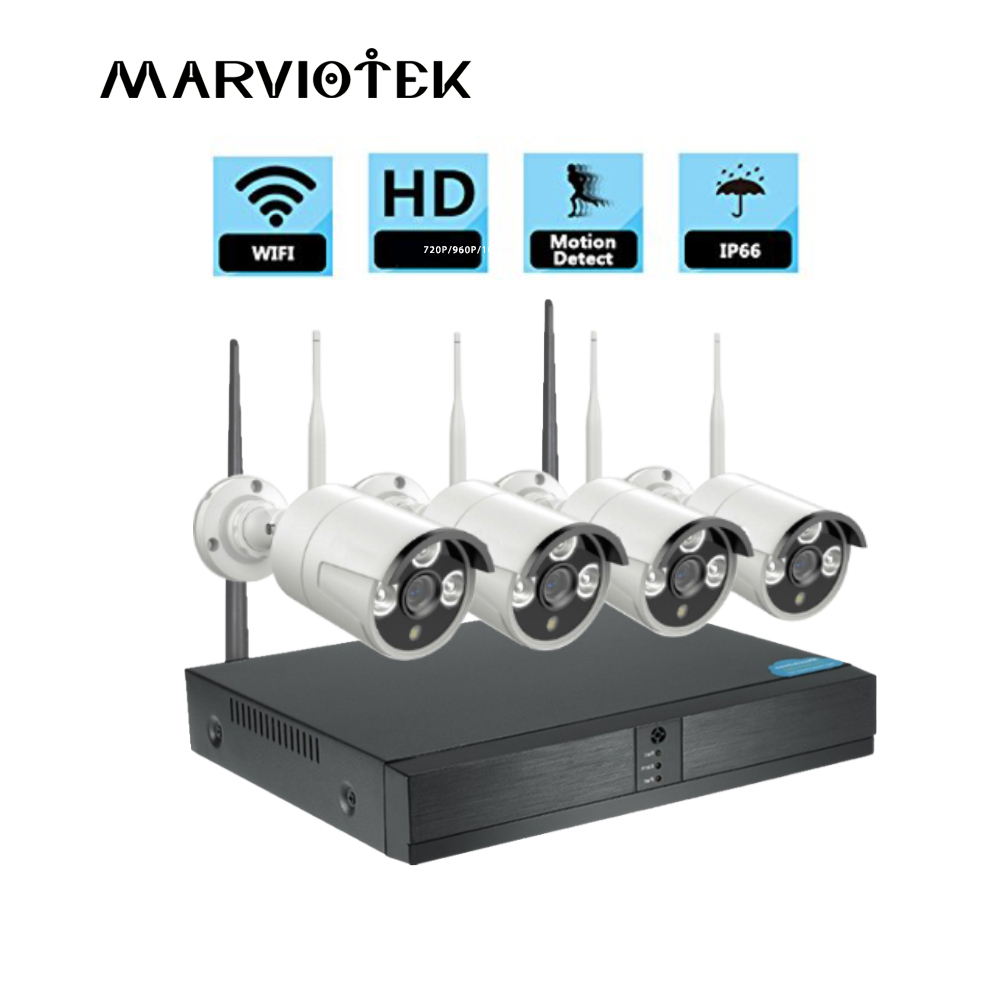 home Security Camera System Outdoor Waterproof Video Surveillance DVR CCTV Camera System Wireless 720P IP Camera Wifi NVR Kit escam wnk403 wireless 720p dvr kit security camera system