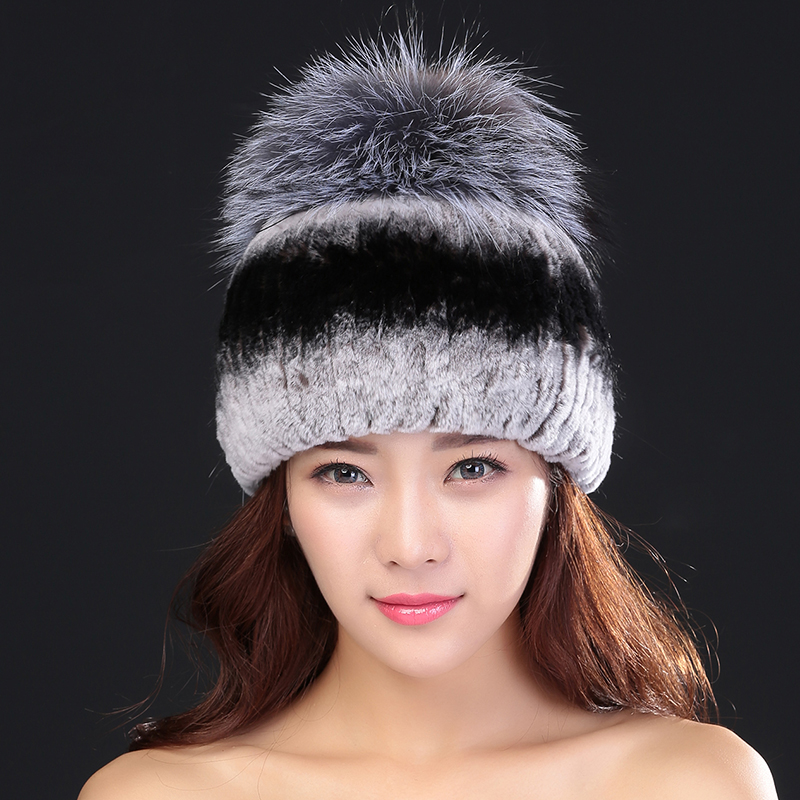 ФОТО Winter Caps With Fox Fur Ball 100% Natural Rex Rabbit Fur Winter Hat For Lady Fashion Fur Cap Warm Beanies Lady headwear  Bone