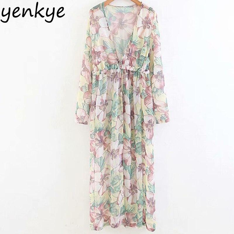 Summer Women Floral Printed Semi-sheer Long Shirt Lady Long Sleeve V Neck Drawstring Waist Chiffon Sunscreen Cloth Plus Size