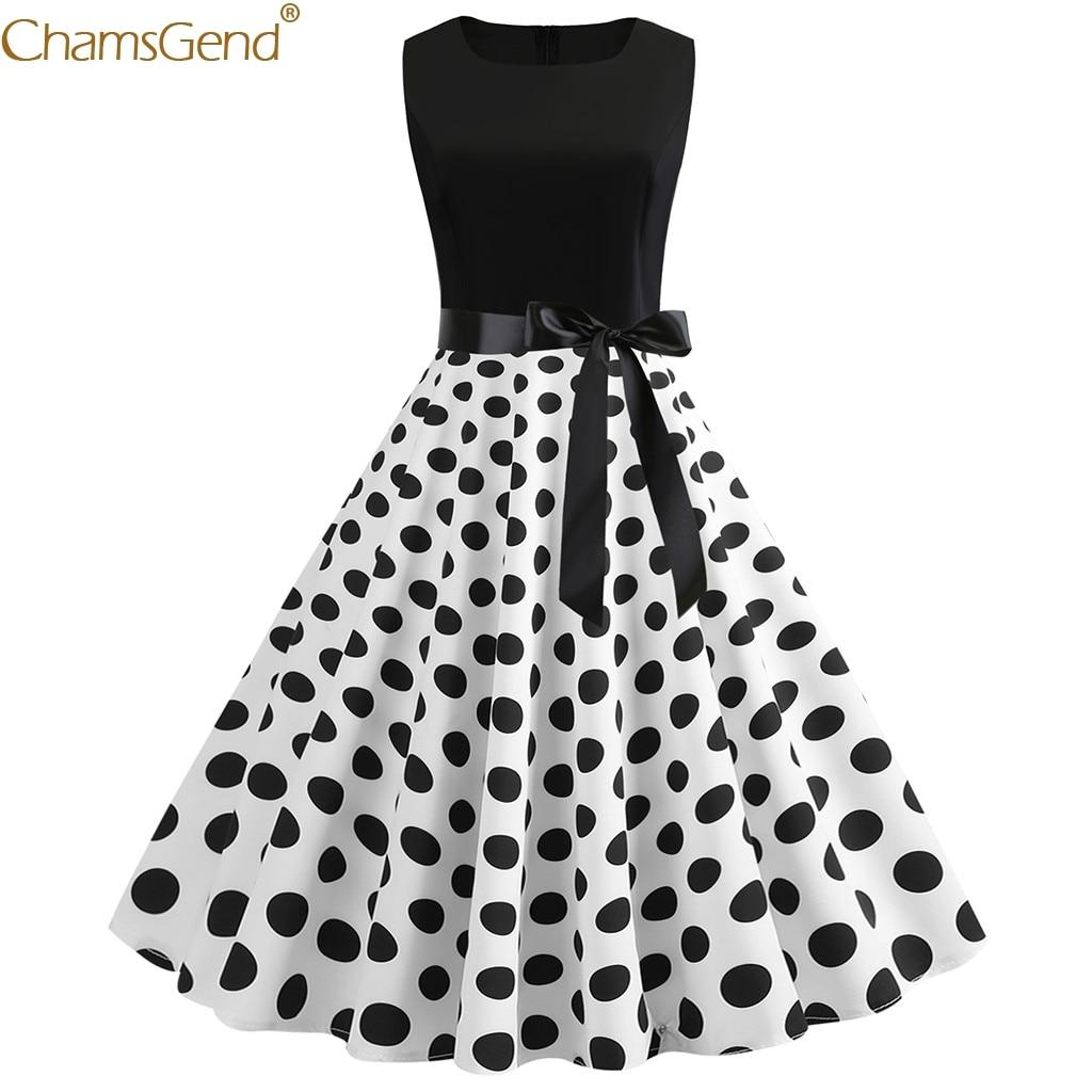 Vintage Retro Sleeveless summer dress 2019 for girls summer dress women plus size Print Evening Party elegant girl Pleated Mar