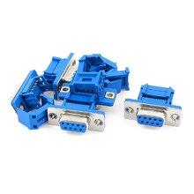 KSOL 5 частей D-SUB 9-контактный DB9 Женский IDC обжимной адаптер разъем для ленточного кабеля Синий