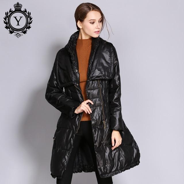 COUTUDI Mulheres Para Baixo Casacos de Inverno Plus Size Longo Pato Para Baixo casaco Quente Magro High Street Estilo de Qualidade Para Baixo Casaco Feminino parka