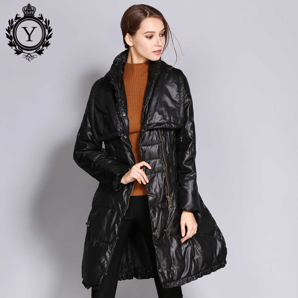 1274694bed9 COUTUDI Women Down Jackets Winter Plus Size Long Duck Down jacket Warm Slim  High Street Style