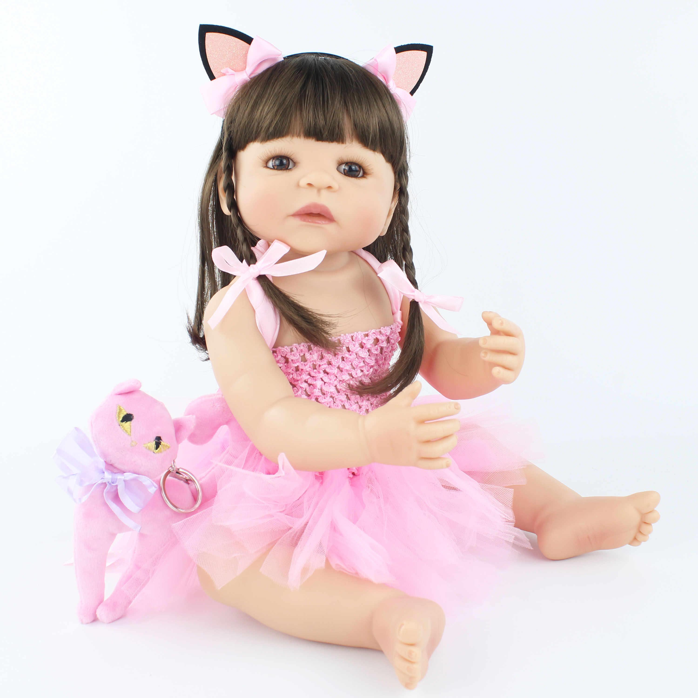 55 см Новая полная силиконовая игрушка для новорожденных девочек, новорожденных принцесс, младенцев, живые Младенцы Bebe Classic Boneca Ванна Душ игрушка