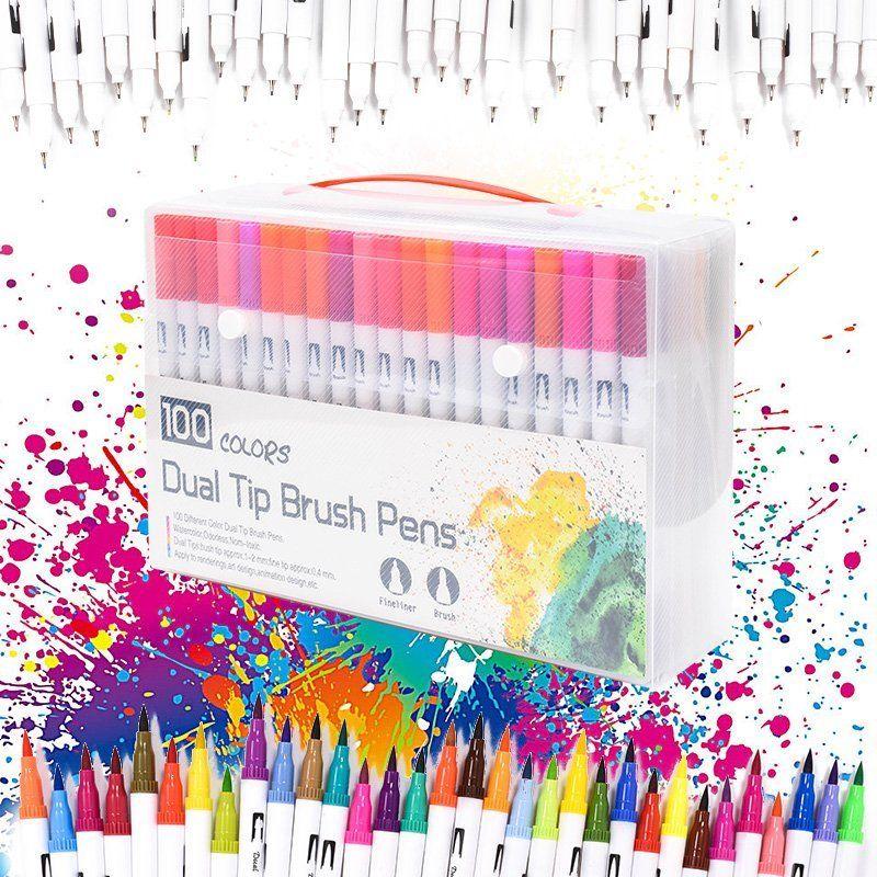 100 stylos pinceau double pointe couleur avec marqueurs d'art de coloration Fineliners dessin