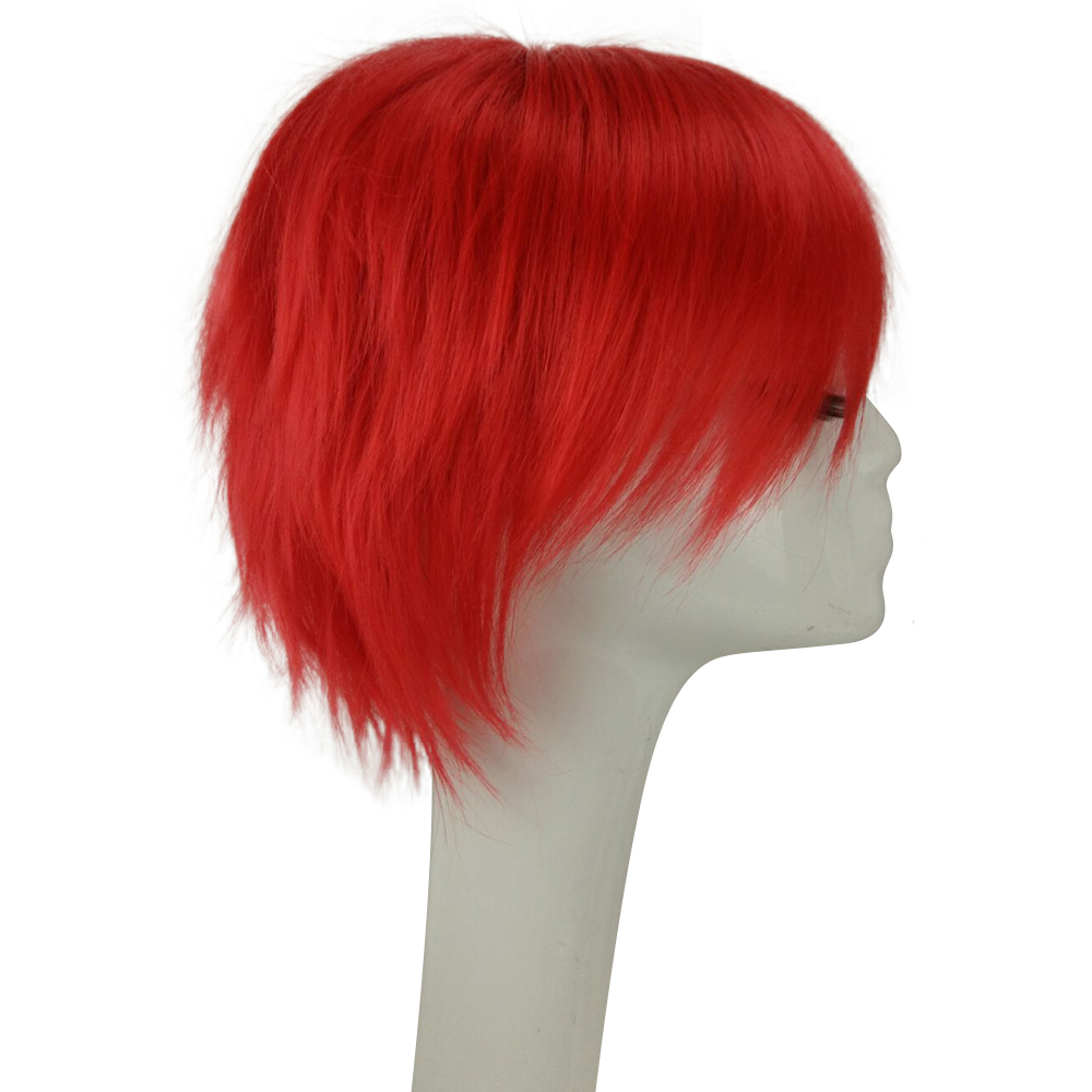HAIRJOY Röd Grön Blå Brun Rosa Orange Cosplay Wig Mäns - Syntetiskt hår - Foto 3
