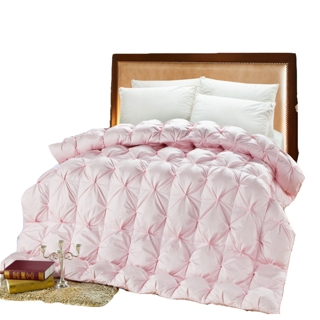 Double Bed Goose Down Comforter Pink White Duck Feather Thick Quilt Uk Super King Size