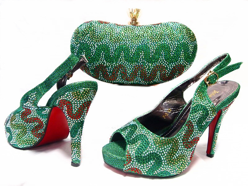 ФОТО Green Color African Shoe and Bag Set Women Shoe and Bag To Match for Parties Italian Matching Shen and Bag Set Ladies  JA10-3