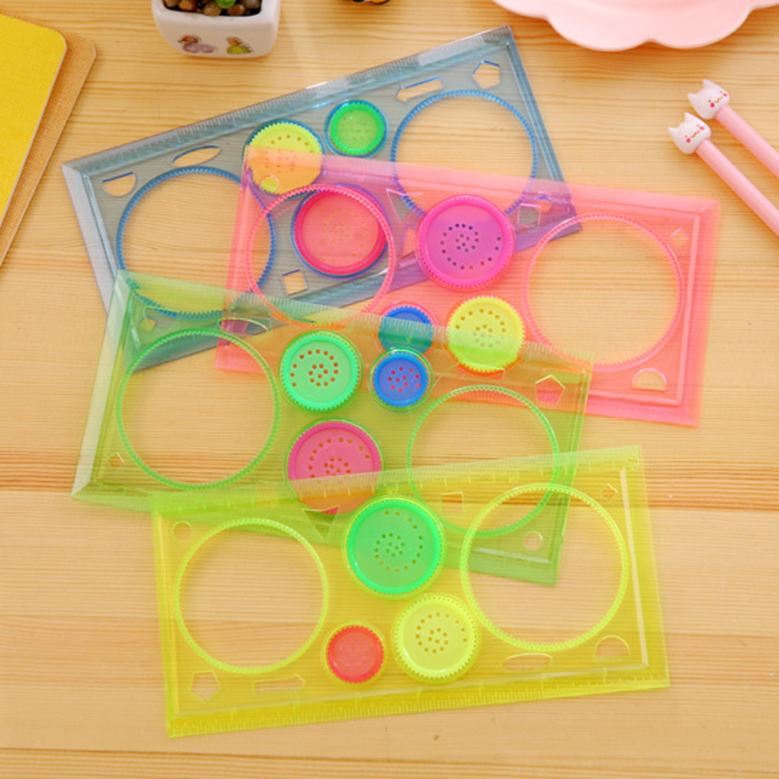 Fangnymph Creative Candy Color Multi-function Puzzle Flowers Ruler Transparent Spirograph Geometric Ruler Student Drawing Ruler School & Educational Supplies