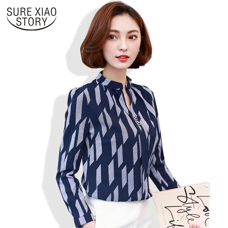 2019 outono Nova moda Casual de Manga Comprida Camisa Impressão stripde Mulheres Encabeça elegante Chiffon mulheres Blusa blousas top 01D 30
