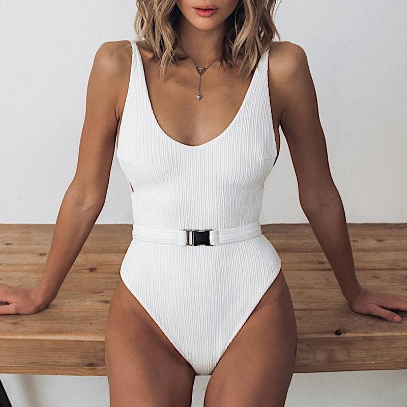 Одноцветный купальный костюм с бретельками, модель 2020 года, сексуальный купальник для женщин, с поясом, с высокой посадкой, пляжная одежда, u-... 23
