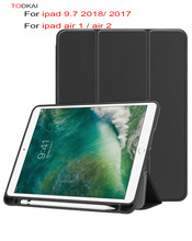 цены Case with Pencil Holder For iPad 9.7 inch 2018 2017 A1893 A1822 PU Leather Smart Cover Auto Sleep Wake for ipad air 1 air 2