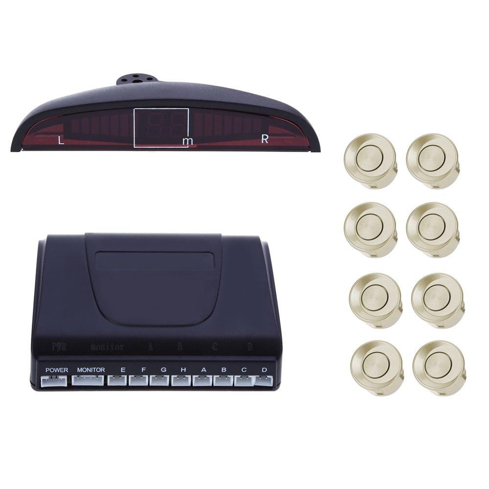 imágenes para Coche Sistema de Alarma de Marcha Atrás de Reserva Del Radar Pantalla LED de 8 Sensores de Aparcamiento Traseros Delanteros de Doble CPU de Chips Avanzados con Inglés Voz