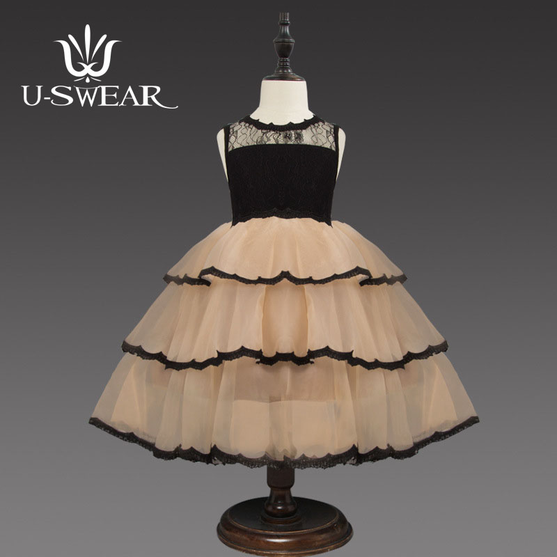 U-SWEAR 2019 New Arrival   Flower     Girl     Dresses   Sleeveless O-Neck Lace 3 Layers Chiffon   Girls   Ball Gown Pageant   Dresses   For   Girls