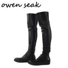 أوين سيك الرجال أحذية أكثر من الركبة عالية الأحذية الفاخرة المدربين جلد الغنم الشتاء الأحذية عارضة الثلوج الشقق الأسود حجم كبير الأحذية