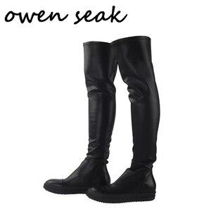 Image 1 - Owen Seak Botas deportivas de piel de oveja hasta la rodilla para hombre, botas de invierno informales, bailarinas para nieve, color negro, talla grande
