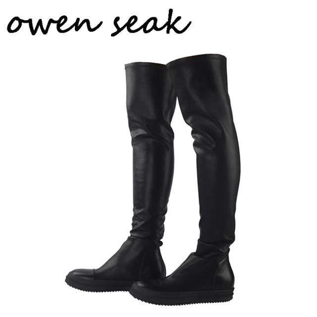 Owen Seak Botas deportivas de piel de oveja hasta la rodilla para hombre, botas de invierno informales, bailarinas para nieve, color negro, talla grande
