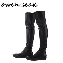 Мужские сапоги выше колена Owen Seak, черные роскошные кроссовки из овечьей кожи, повседневные туфли без каблуков для снега, большие размеры, зима 2019