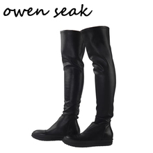 אוון Seak גברים נעלי מעל הברך גבוהה מגפי יוקרה מאמני כבש עור חורף מגפי שלג מזדמנים דירות שחור גדול גודל מגפיים