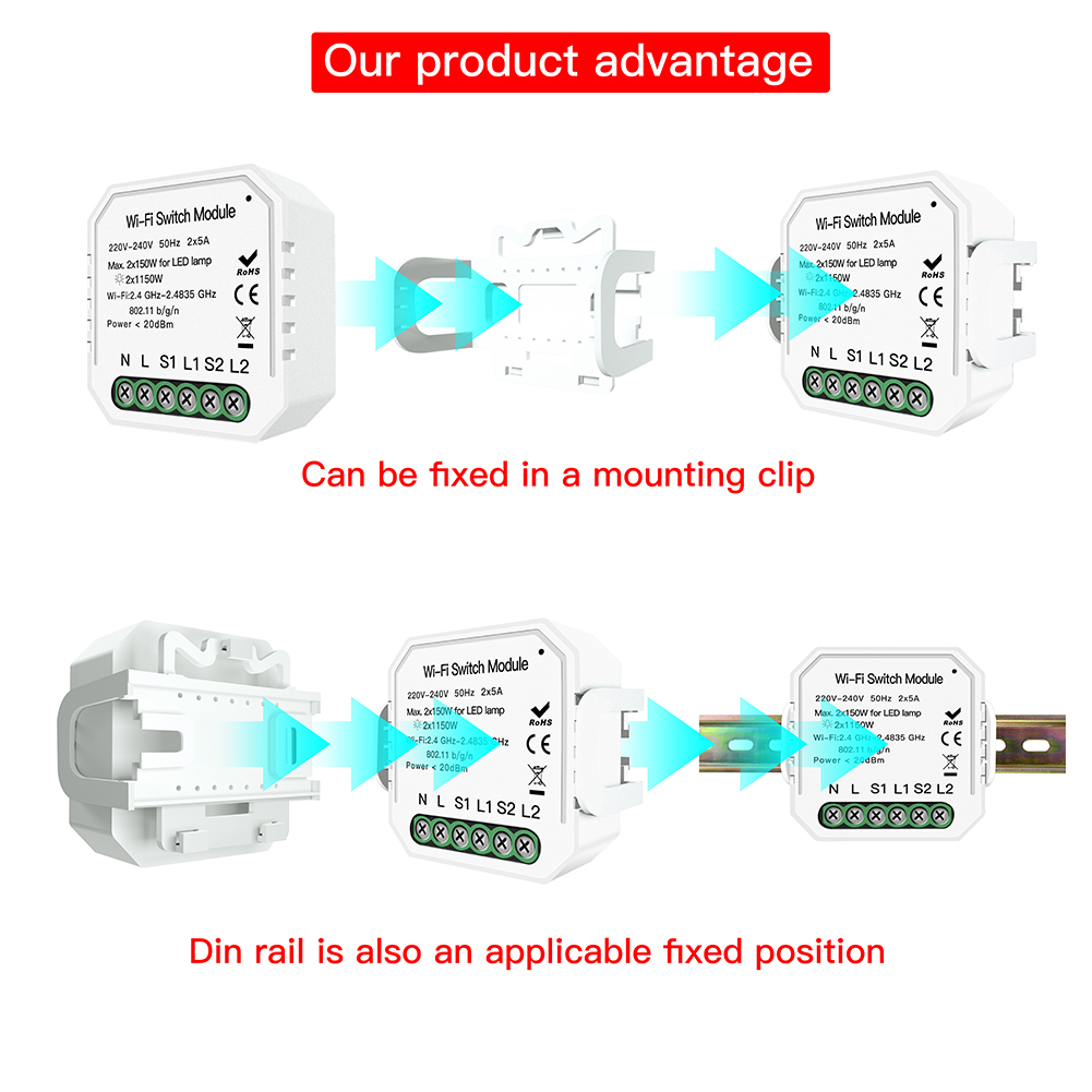 Image 3 - 2 Gang 2 way WiFi Smart Light Switch Hidden Diy Module Smart Life/Tuya APP Remote Control Works with Alexa Echo Google Home-in Switches from Lights & Lighting