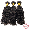 EVET Brazilian Curly Wave Virgin Human Hair 3pcs Natural Black Color Brazilian Curly Hair Wefts Hair Extensions 100g/pcs