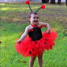 Cute Girls Red Ladybug Tutu Dress Baby 2Layers Crochet Tulle with Hairbow Kids Animal Cosplay Costume Party Clothing