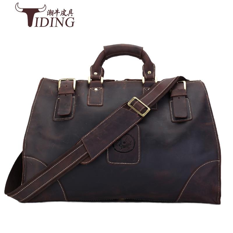 Crazy Horse Man Bags Genuine Leather Vintage Retro Look Cow Leather Travel Bag Men Duffle Bag large Capacity Bag