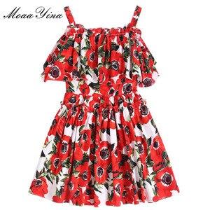 Image 3 - MoaaYina, moda de diseñador, vestido de algodón de pasarela, vestido de verano para mujer, tirantes finos, volantes, estampado Floral, vacaciones, Mini vestido