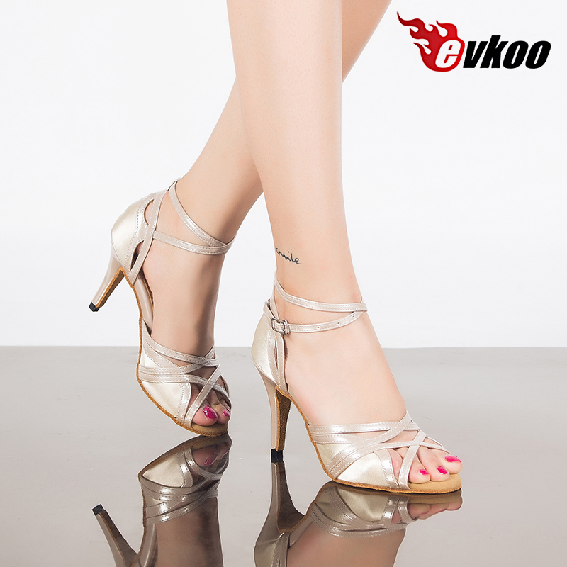 Evkoo танцевальная обувь белая Высота каблука 8,5 см размер США 4-12 Верхний Материал сатин Удобная Латинская танцевальная обувь женские Evkoo-417