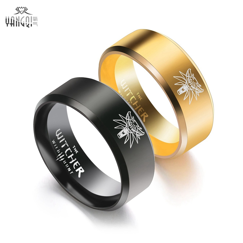 Tire Wedding Rings >> Aliexpress.com : Buy 2017 New Stainless Steel The Witcher 3 Ring Wild Hunt Medallion Punk Gold ...