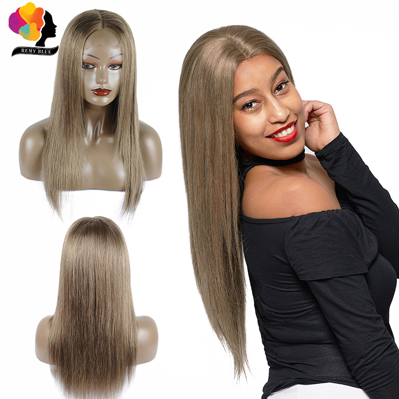 Remy Blue 4*4 Lace Closure Wig Light Brown 126 Straight Hair Lace Closure Wigs Peruvian Remy Human Hair Wigs For Black Women