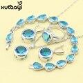 Moda 925 Plata de La Joyería Para Las Mujeres Azul Cubic Zirconia de Boda Bonito Collar Anillos Pendientes Pulsera