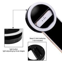 Con clip selfie cámara led anillo de luz de flash de relleno para celular teléfono iphone 6 7 xiaomi redmi huawei samsung meizu lenovo smartphone