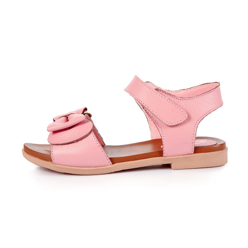 Kids Girls Summer Sandals Childrens Genuine Leather Beach Shoes Size26-37 Students Sandals Open Toe Flats Princess Floral Shoes
