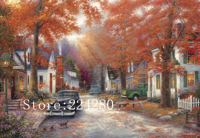 Autumn road town scenery abstract art Needlework 14CT Canvas Unprinted Handmade Embroidery DMC Cross Stitch Kits