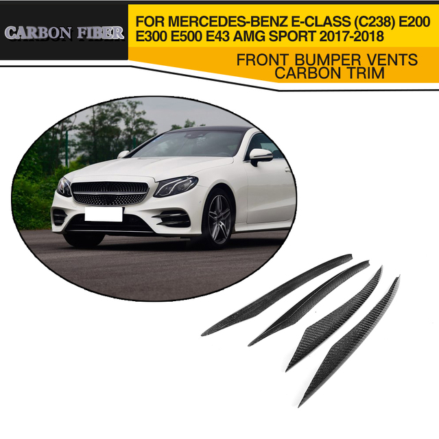 Carbon Front Auto Bumper Vents Fog Lamp Trim for Mercede Benz E Class C238 E300 E400 Fit Sport only E43 AMG 17-18