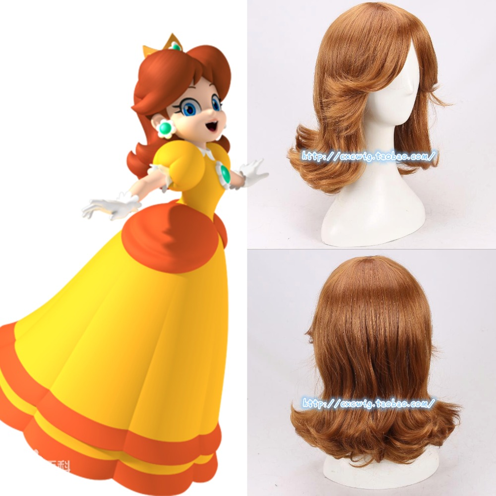 New Super Mario Princess Daisy Wig Brown Hair Halloween Cosplay Role Play