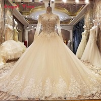 Luxury Sexy Long Sleeves Tulle Wedding Dress Train White Bridal Wedding Gowns New Style 2018 Wedding
