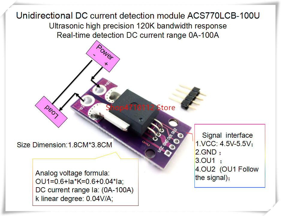 NEW 1PCS/LOT ACS770LCB-100U ACS770 ACS770LCB-100 ACS770LCB 100U  120 KHz Bandwidth DC: 0-100A 0.04V/1A