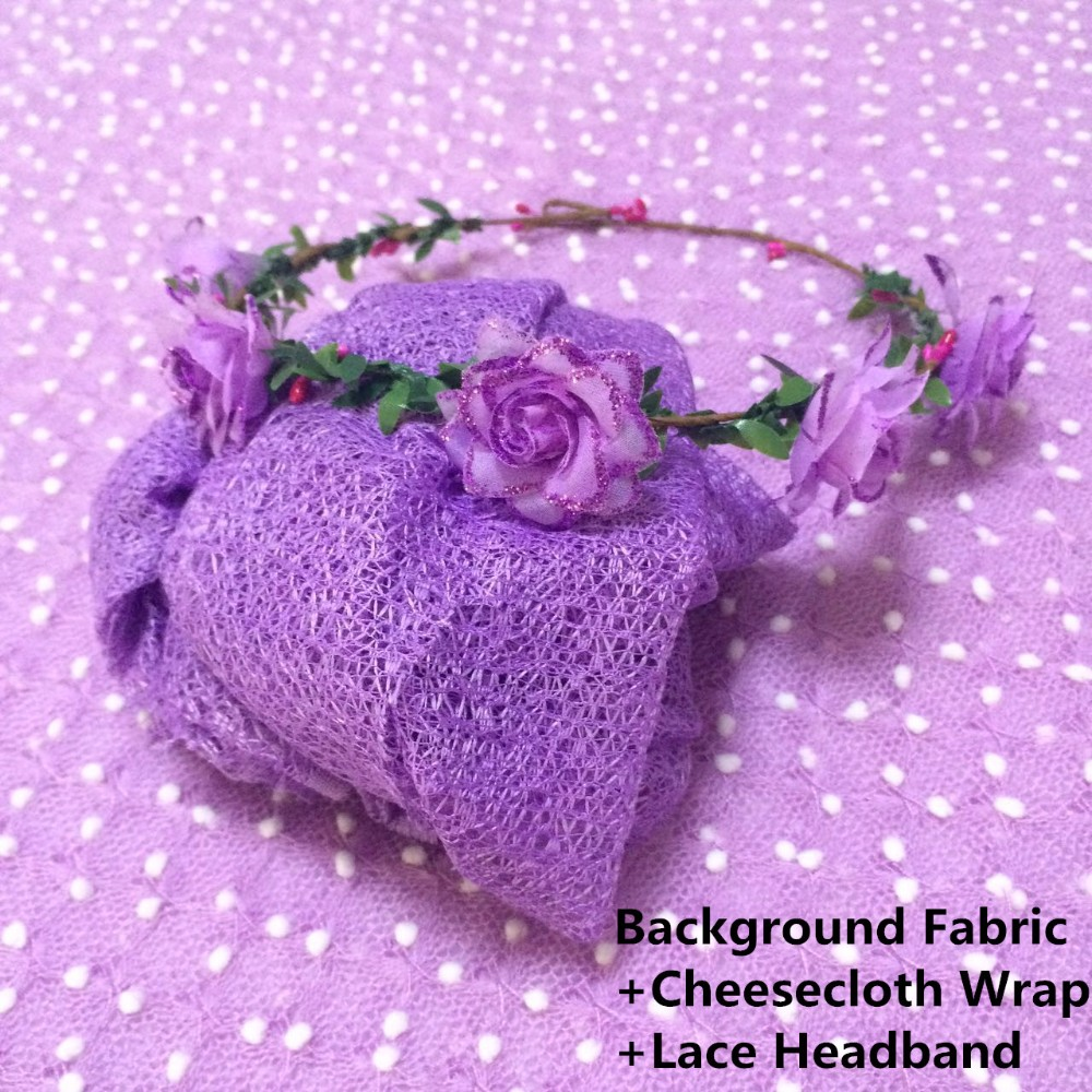 Background Fabric+Cheesecloth wrap+ lace headband